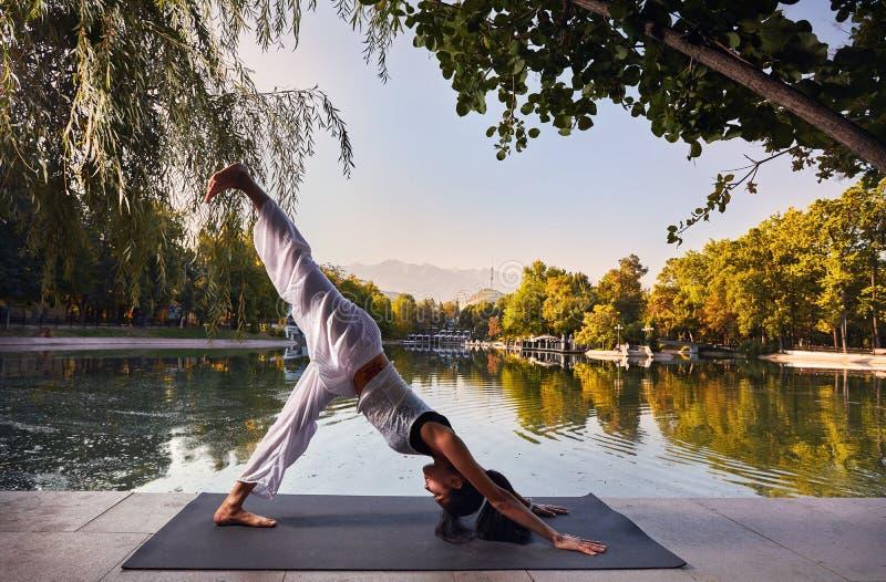 Yoga en stationnement images libres de droits
