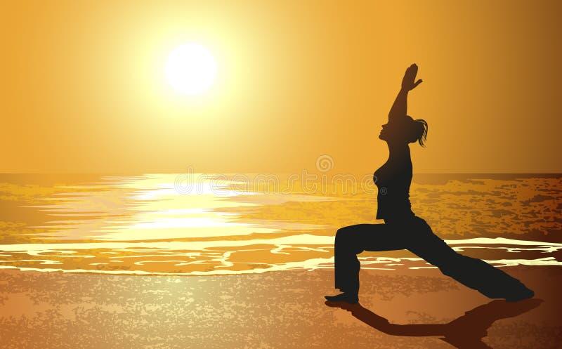 Yoga en una playa stock de ilustración