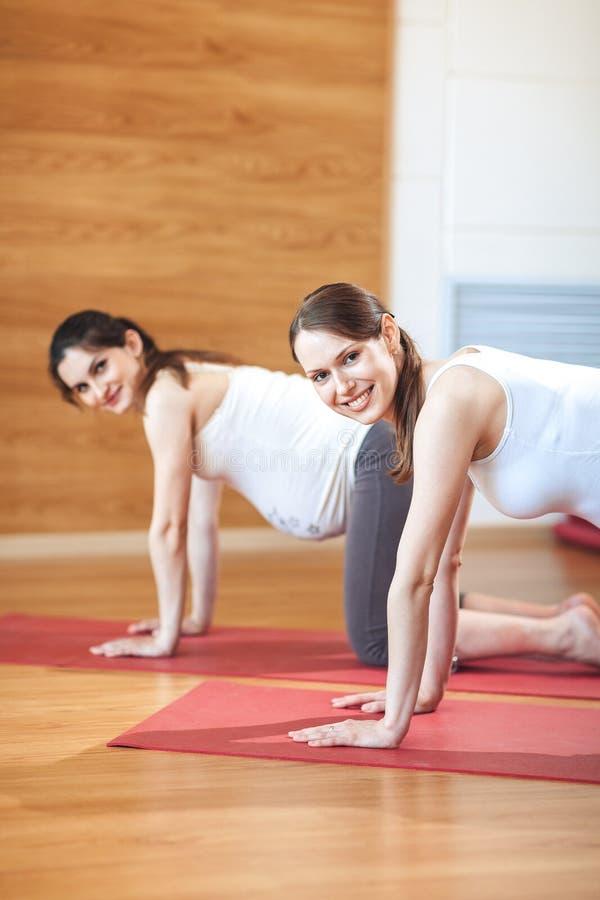 Yoga enceinte Exercice prénatal Beau femme enceinte exécutant le yoga Sérénité et joie aux exercices prénatals de yoga photo stock