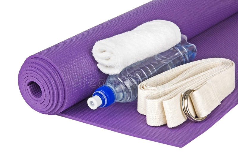 Yoga equipment. Set for yoga practice isolated on white close up stock photos