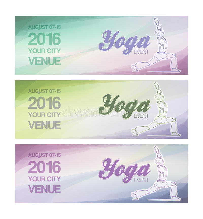Yoga Event Banners. EPS10: Web Banner mockup for a Yoga event. All elements neatly on layers and Groups. Fonts used: Ballpark & Coolvetica. All fonts are for vector illustration