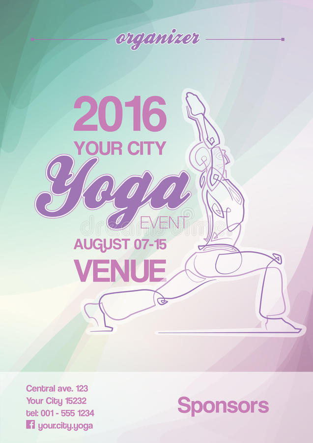 Yoga Event Poster Blue-Green & Purple. EPS10: Poster mockup for a Yoga event. All elements neatly on layers and Groups. Fonts used: Ballpark & Coolvetica. All stock illustration