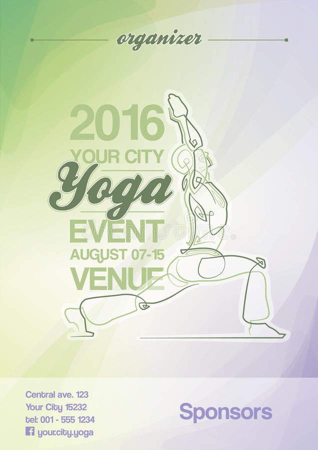 Yoga Event Poster Green & Purple. EPS10: Poster mock-up for a Yoga event. All elements neatly on layers and Groups. Fonts used: Ballpark & Coolvetica. All fonts stock illustration