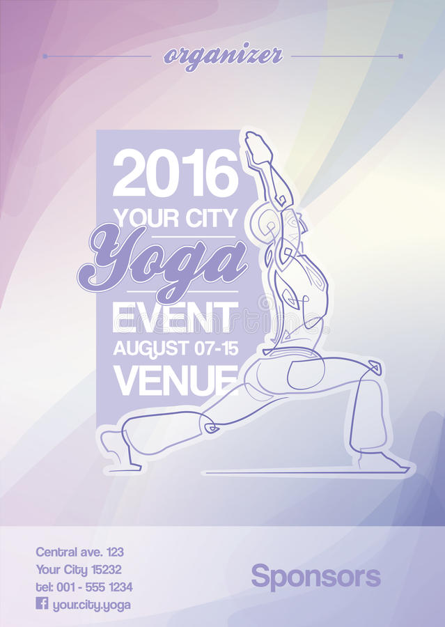 Download Yoga Event Poster Purple Blue Stock Vector