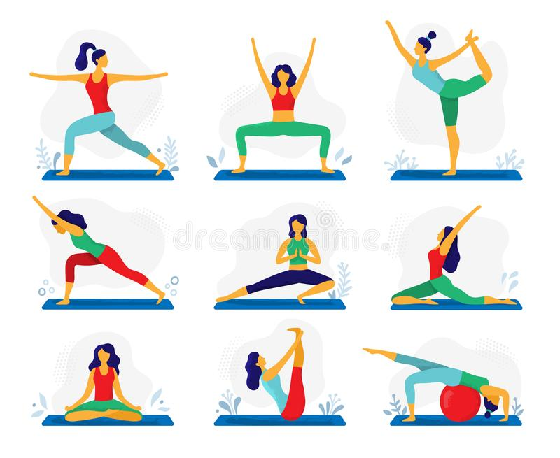 Yoga exercise. Fitness therapy, healthy stretch yoga poses and woman treatment stretching exercises flat vector stock illustration