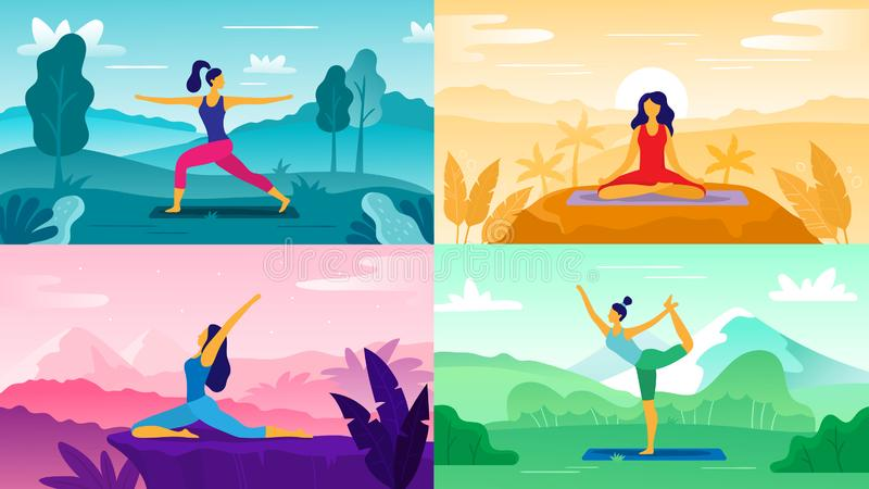 Yoga exercise on nature. Relax outdoors exercises, healthcare fitness and healthy lifestyle. Yoga poses flat vector vector illustration