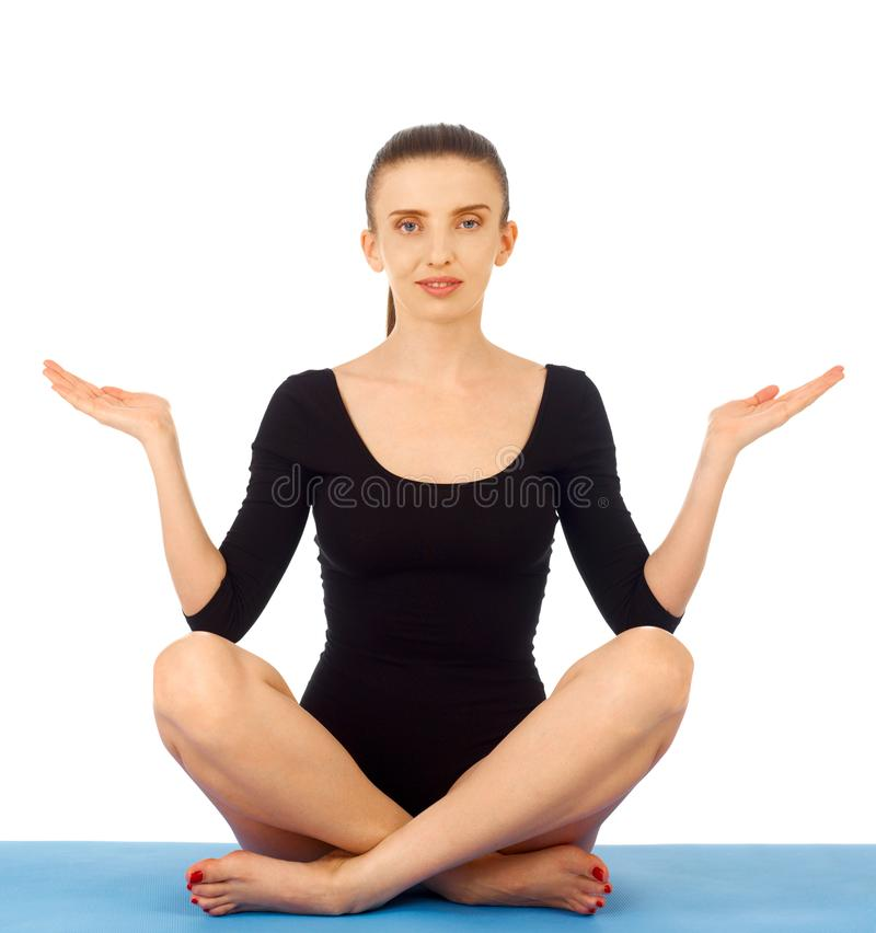 Yoga exercise on white royalty free stock images