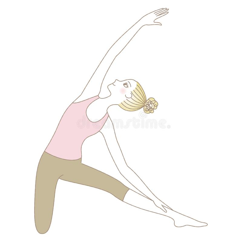 Yoga pose, woman in Gate Pose royalty free illustration