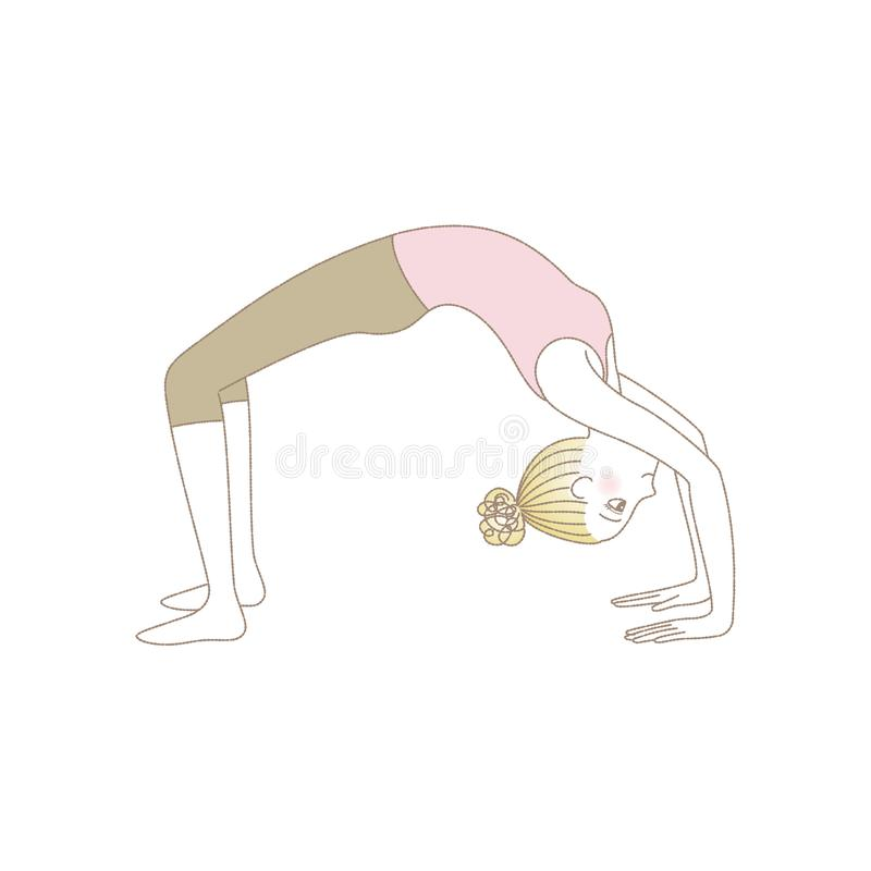 Yoga pose, woman in Wheel Pose vector illustration