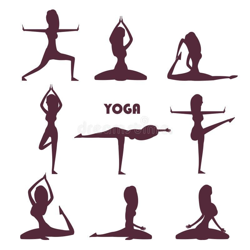 Yoga exercises and meditation female silhouettes vector illustration