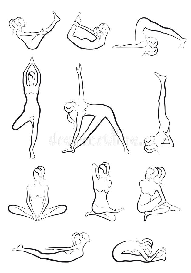 Yoga exercises, vector set royalty free illustration