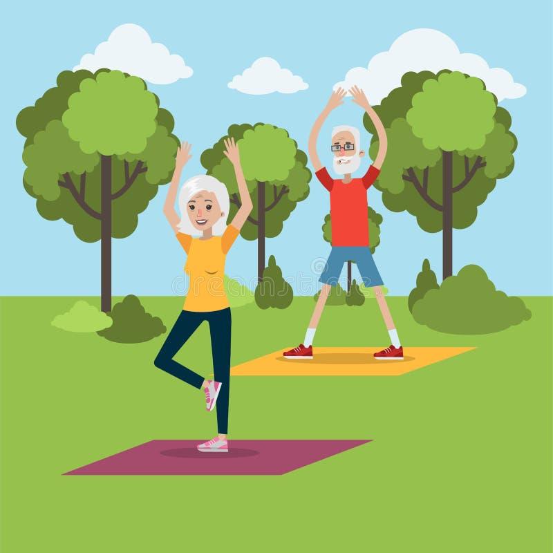 Yoga för åldring stock illustrationer