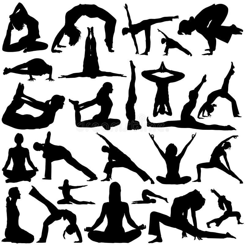 yoga för 2 vektor vektor illustrationer