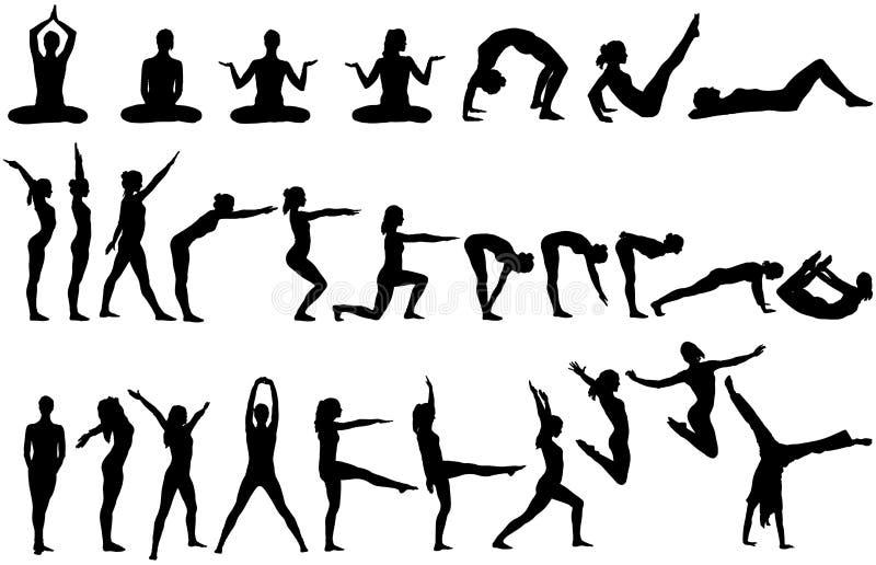 yoga för 28 silhouettes stock illustrationer