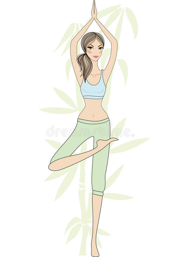 yoga för bambuflickatree royaltyfri illustrationer