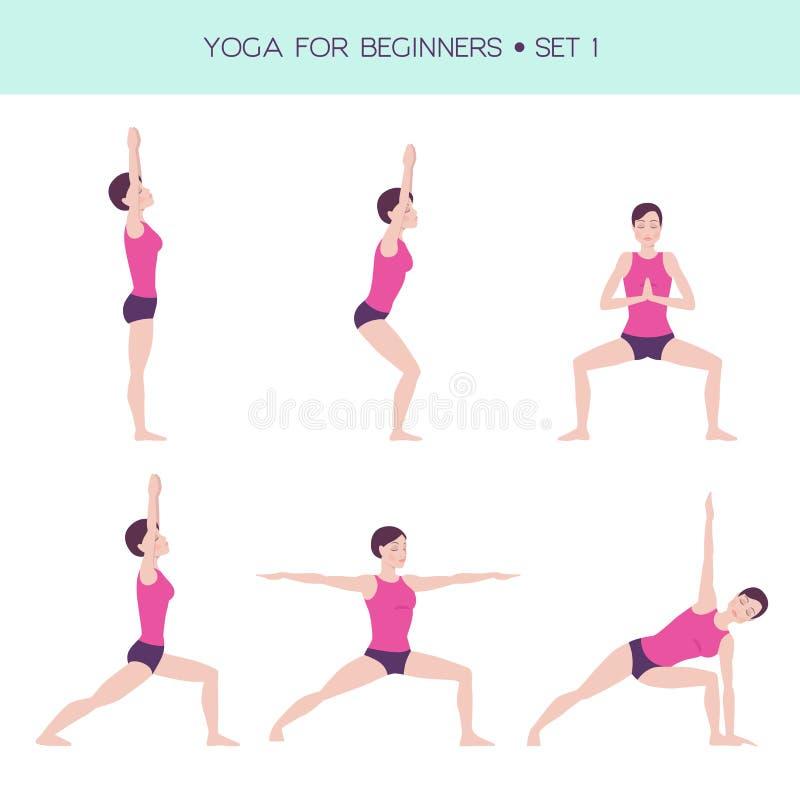 Yoga för grundläggande uppsättning för nybörjare stock illustrationer