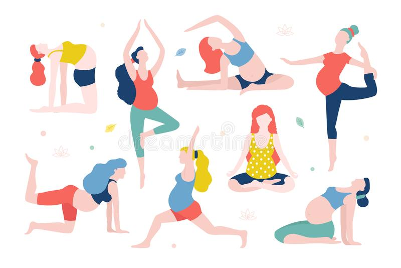 Yoga för illustrationen för gravid kvinnavektorlägenhet som isoleras på vit bakgrund Sunda kvinnor med buken som in gör yoga vektor illustrationer
