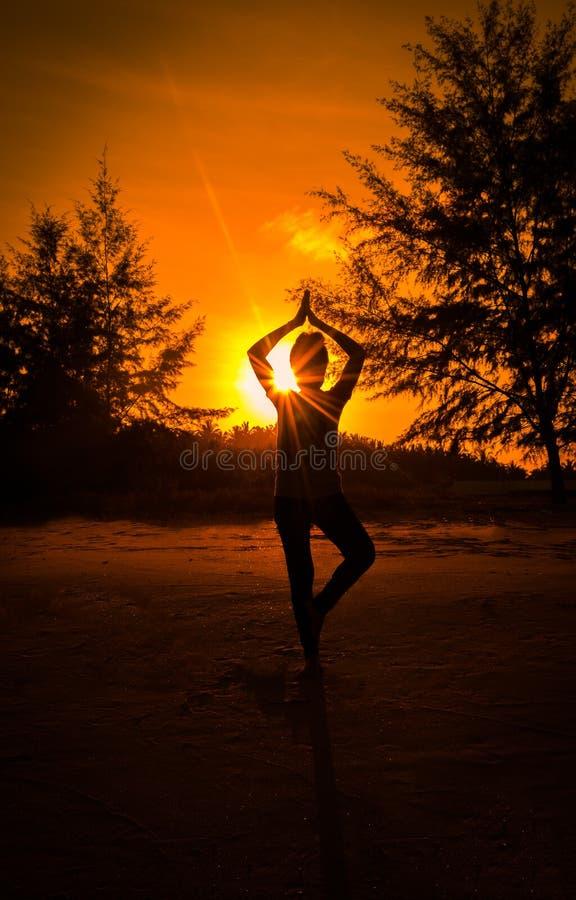 Yoga för lek för ung kvinna för kontur på stranden royaltyfri fotografi