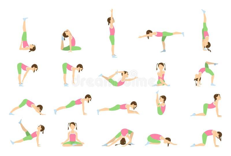 Yoga för ungar stock illustrationer