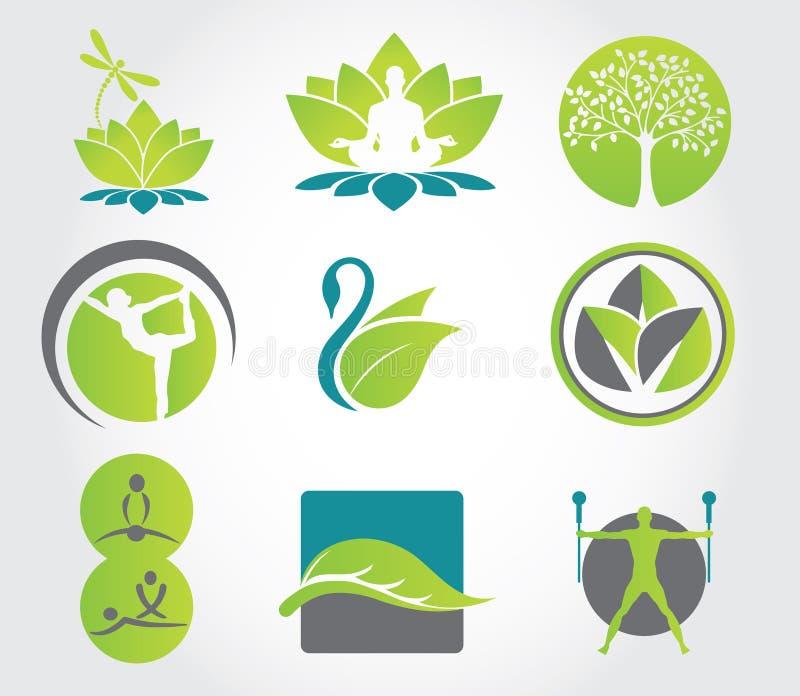 yoga för vektor för färgrik konditionsymbolsillustration set också vektor för coreldrawillustration stock illustrationer