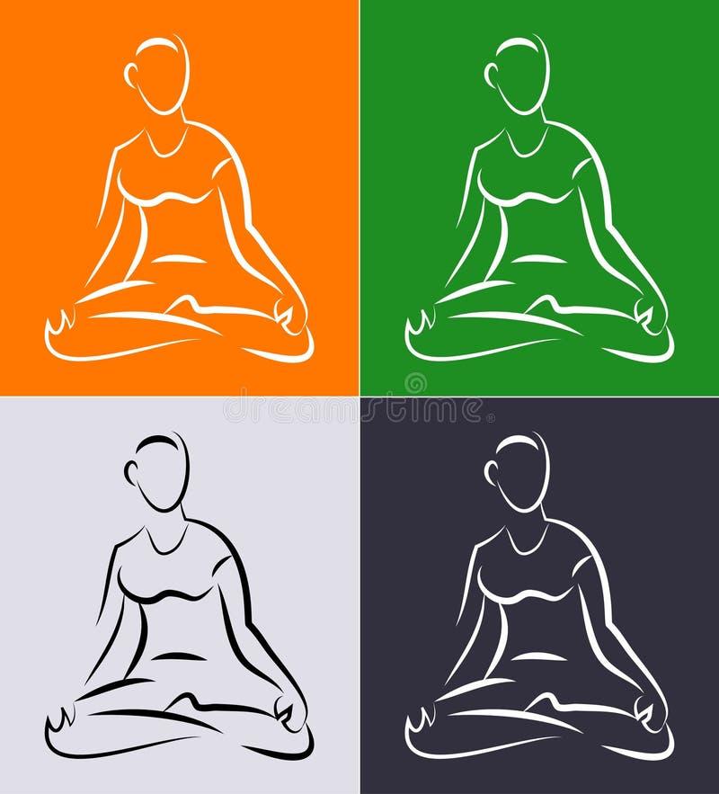 Yoga für Anfänger lizenzfreie abbildung