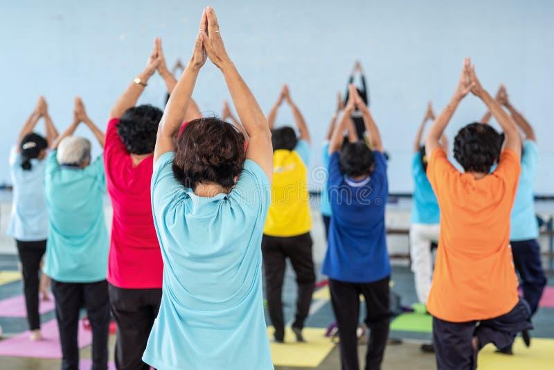 Yoga für Senior stockfotos