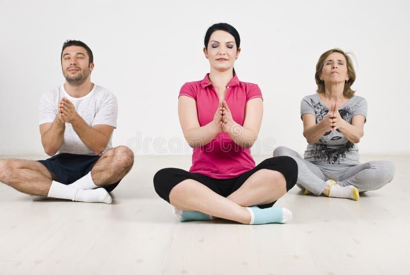 Yoga family stock photo