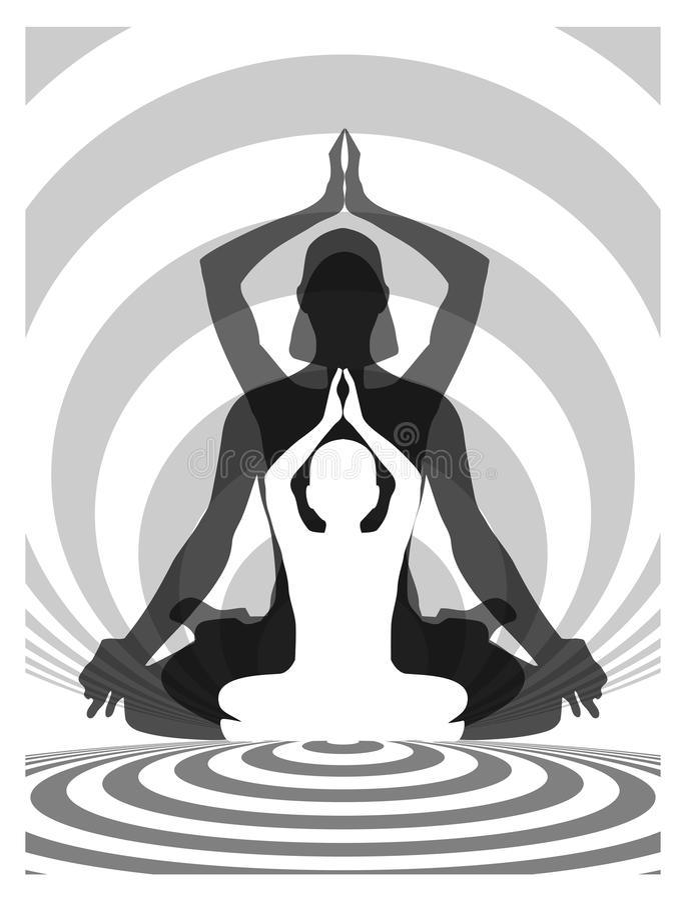 Yoga family vector illustration