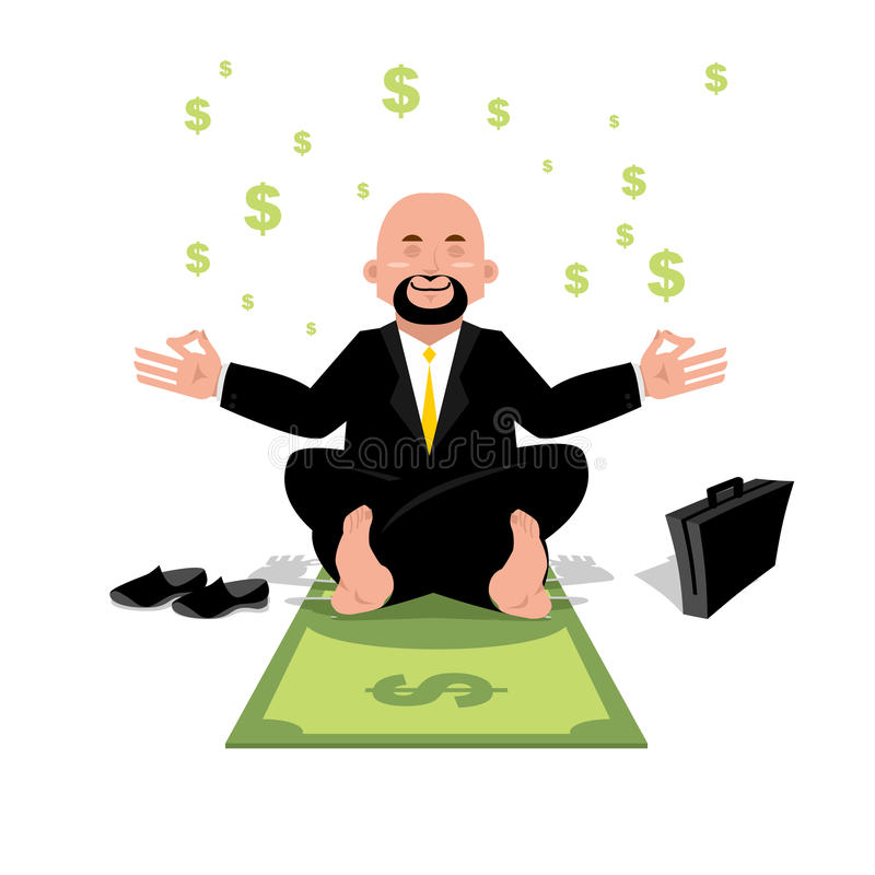 Yoga finanziaria Uomo d'affari che medita su soldi Uomo che si siede sopra illustrazione vettoriale