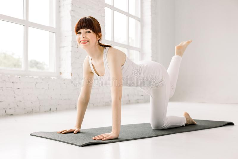 Yoga, fitness, sport, training and lifestyle concept - smiling young woman training leg on mat in gym. Woman practicing royalty free stock photos
