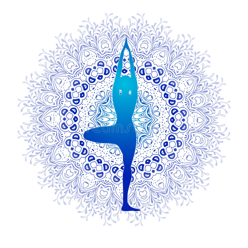 Yoga Fitness, yoga logo, fitness and sport club, vector logo template. Yoga pose designed against blue mandala with. Floral ornament. Eco Nature lifestyle vector illustration