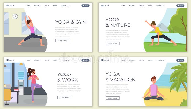 Yoga flat landing page vector template set. Yoga classes on nature website, webpage. Man and woman training on beach stock illustration