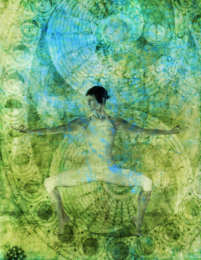 Yoga Flow. A woman in yoga horse stance with yoga mudra. Photo illustration with alchemical flow pattern overlaid vector illustration