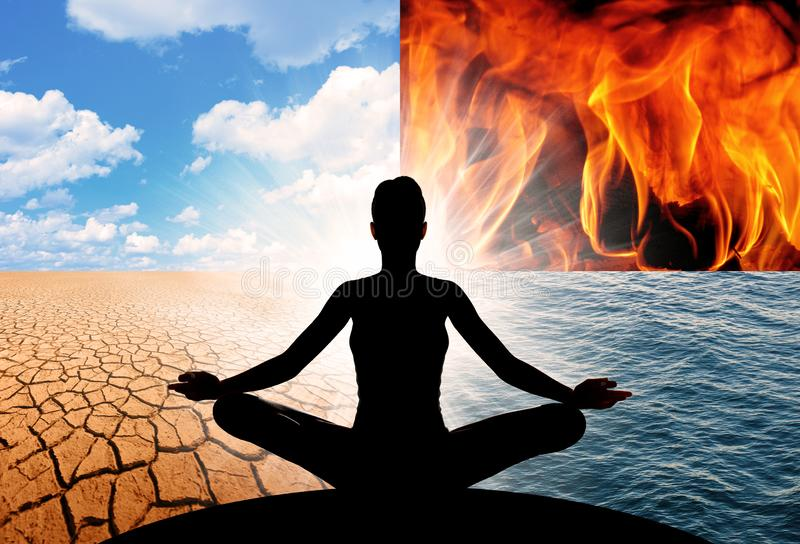 Yoga and the four elements of the Universe. Concept of Yoga and the four elements of the Universe, fire, water, earth, and air. They make up all that is stock photography