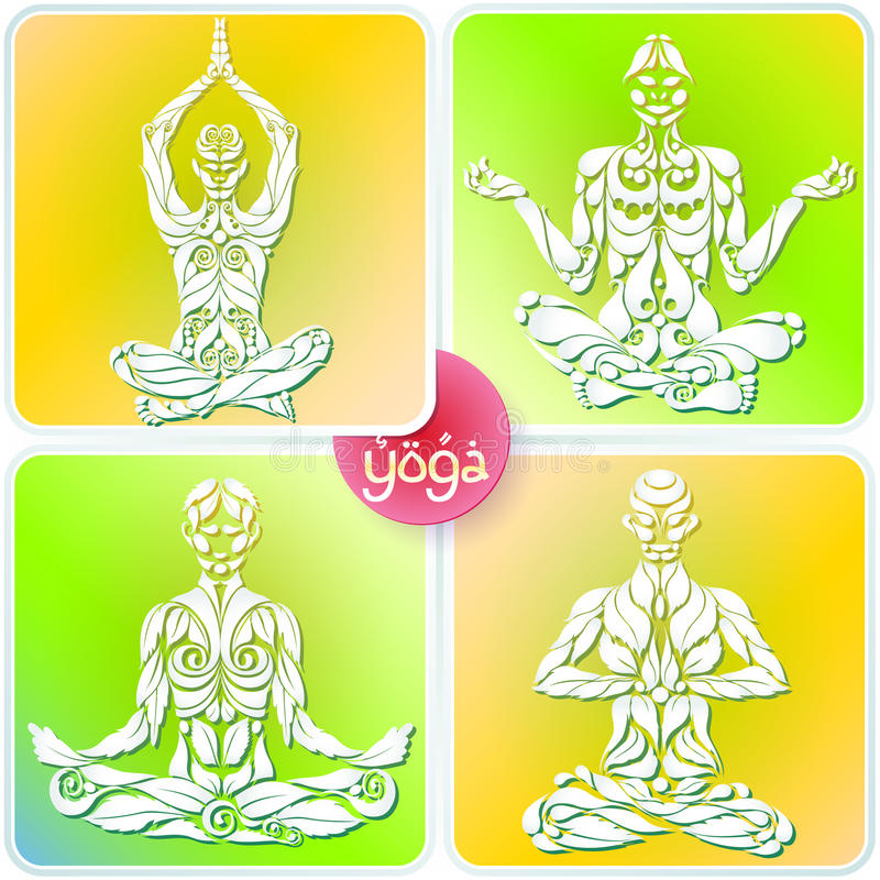 Yoga Four Logo. 4 Yoga man in the lotus position in the form of the original organic plant vector logo design template. Healthy natural lifestyle Logo Icon royalty free illustration