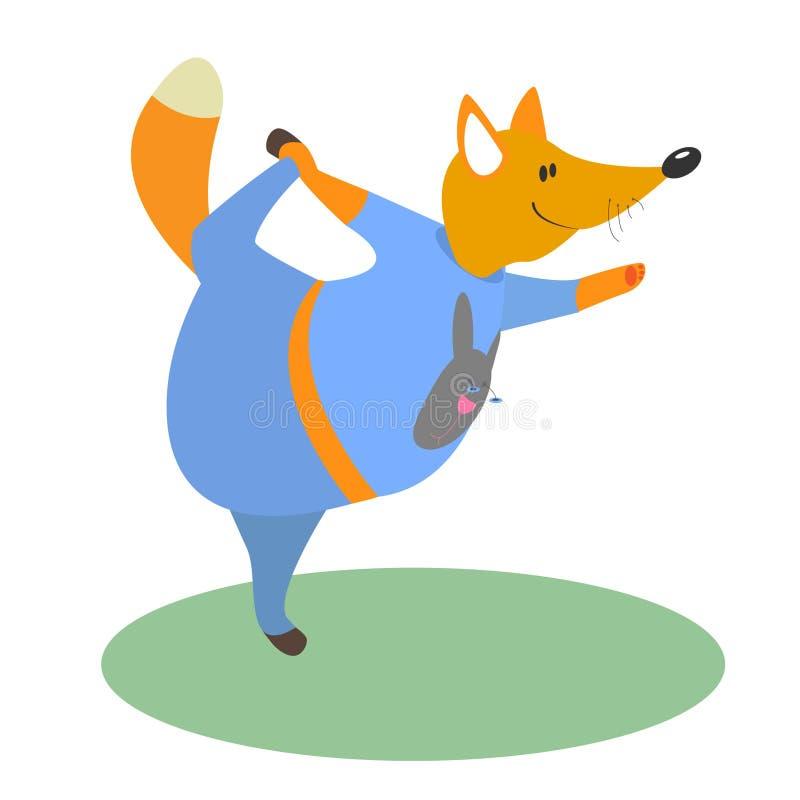 Yoga fox vector royalty free illustration