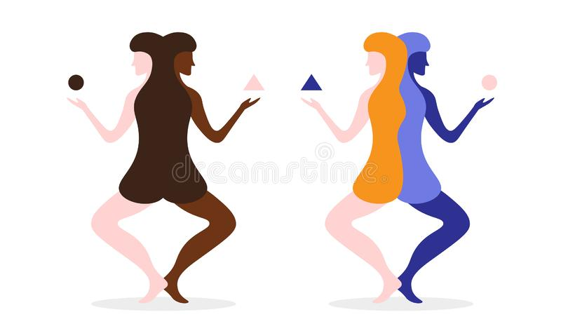 Yoga-Frauen-Eignungsabstrakter begriff Auch im corel abgehobenen Betrag lizenzfreie abbildung