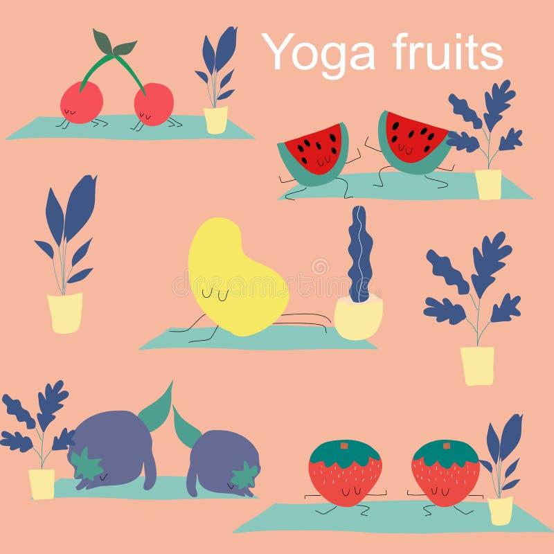 Yoga fruits vector set, icon illustration royalty free illustration