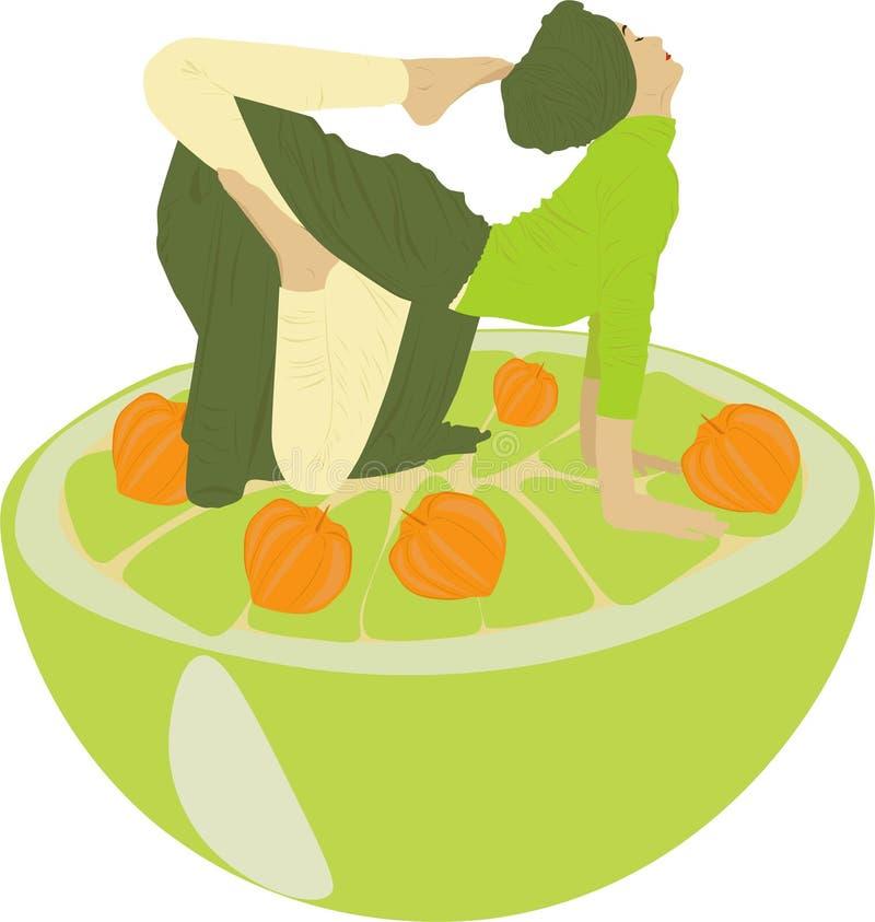 Yoga with fruits stock illustration