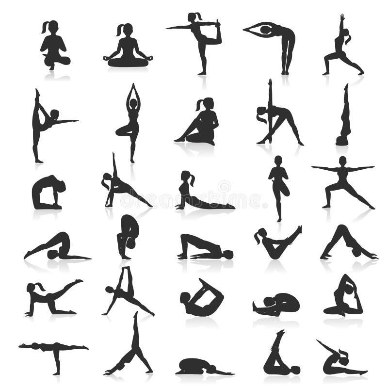 Yoga göra sig till övningsuppsättningen royaltyfri illustrationer
