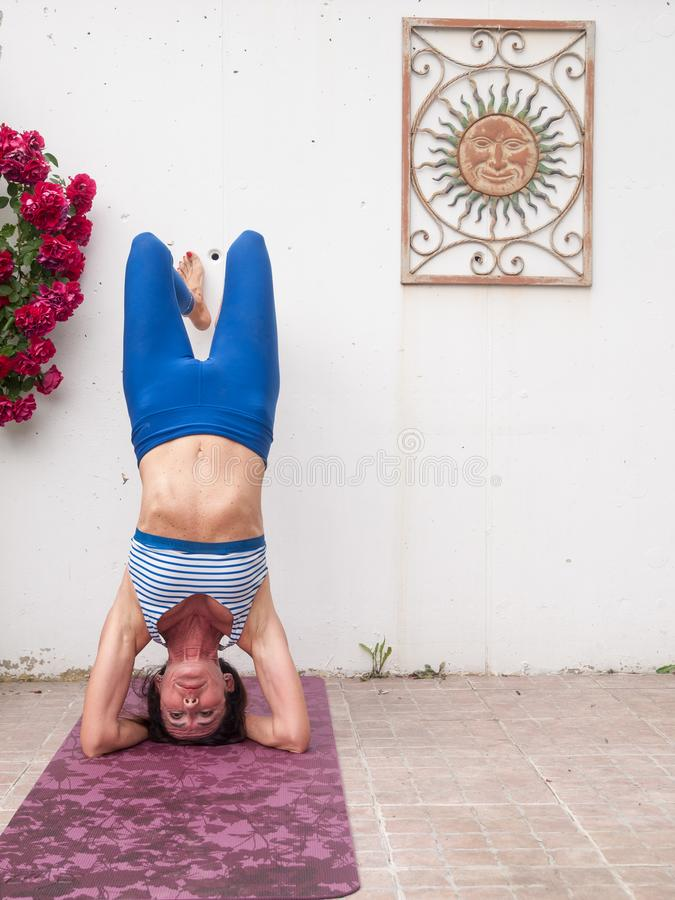 Yoga in the garden royalty free stock photography