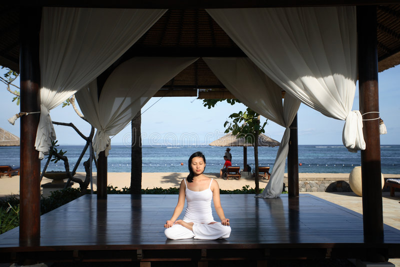 Download Yoga in a Gazebo stock photo. Image of five, hotel, concentration - 432070