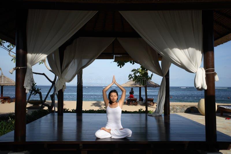 Yoga In A Gazebo Stock Image