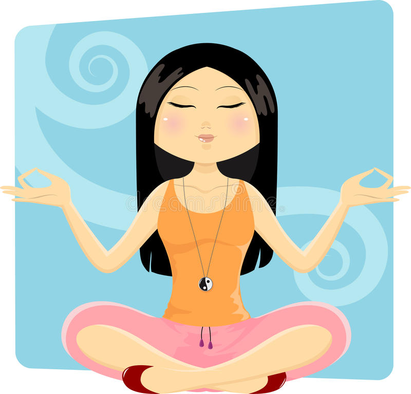 Download Yoga girl stock vector. Image of calm, length, girl, chinese - 21524820