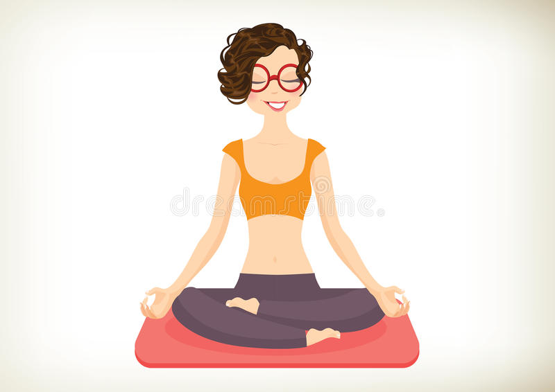 Yoga Girl. Cheerful Yoga Girl in lotus position. Vector, illustration royalty free illustration