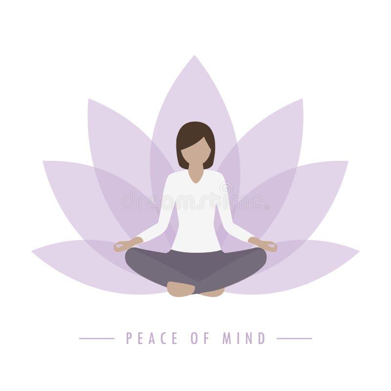 Free Yoga Girl Lotus Flower Background Peace Of Mind Stock Photo - 216040330