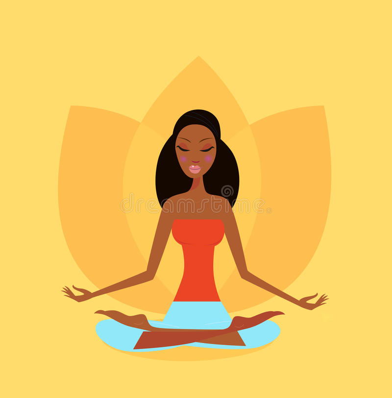 Yoga girl in lotus flower position. A girl meditating in lotus yoga position. Serene woman in harmony with nature. Orange backgroud color bring peaceful stock illustration
