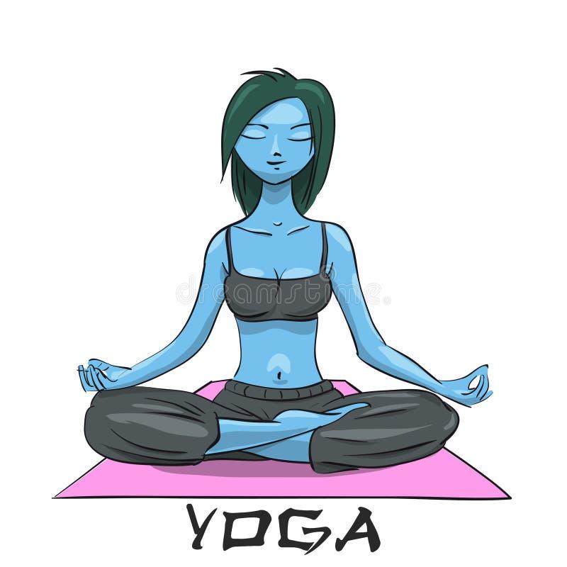 Yoga. Girl in the lotus position. Alien girl. Vector Illustration vector illustration