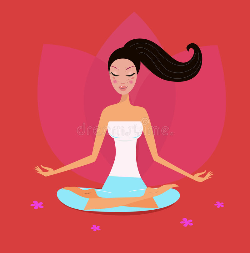 Yoga girl in lotus position isolated on red. Asia girl relaxing in yoga lotus position. Vector Illustration stock illustration