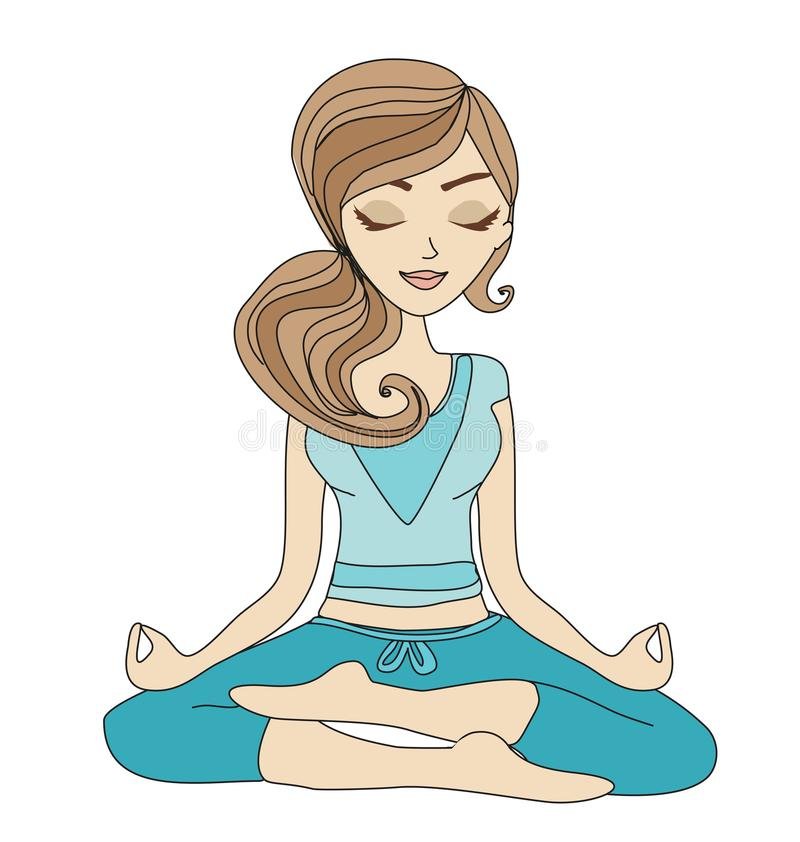Yoga girl in lotus position. Vector Illustration royalty free illustration